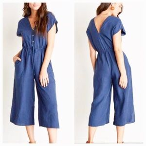 Cloth & Stone Linen Cropped Wide Leg Jumpsuit